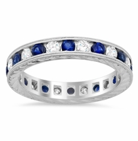Hand-Engraved Colored Stone and Diamond Eternity Band