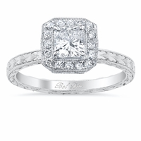 Hand-Engraved Halo Engagement Ring