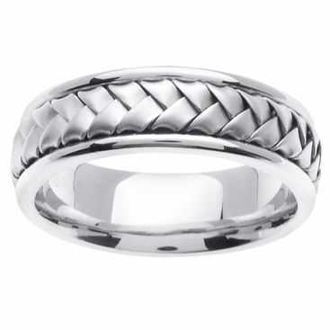 Handmade Platinum Ring with Braided Center - click to enlarge