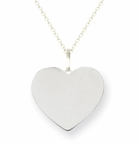 Heart Initial Pendant White Gold 11mm