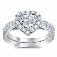 Heart Shaped Diamond Halo Bridal Set