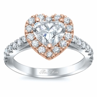 Heart Shaped Halo Engagement Ring Rose Gold