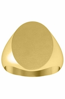 Heavy Solid Back Yellow Gold Signet Ring