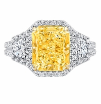 'Henriette' Fancy Intense Canary Diamond Three Stone Engagement Ring
