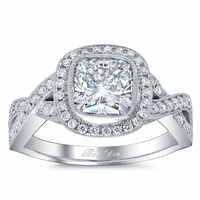 Infinity Shank Pave Halo Engagement Ring