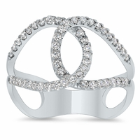Interlocking Pave Diamond Loop Ring