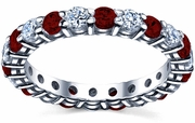 January Birth Stone Eternity Ring with Diamonds and Garnets