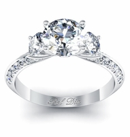 Knife Edge Three Stone Ring with Diamond Accents