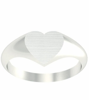Ladies Heart Shaped Gold Signet Rings