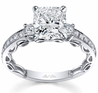 Three Stone Engagement Ring Setting with Diamond Band