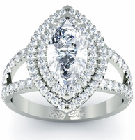 Marquise Low Split Double Halo Engagement Ring