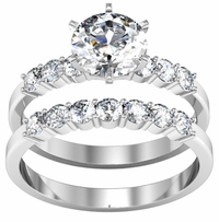 Matching Diamond Wedding Set 14kt Gold 1.00cttw Prong Set