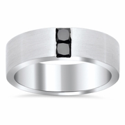 Men's Channel Set Princess Cut Black Diamond Wedding Ring