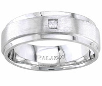 Men's Palladium Wedding Ring Princess Cut Diamond