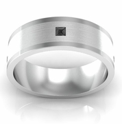 Men's Princess Cut Black Diamond Wedding Ring with Brushed Center