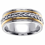 Mens Braided Gold Ring 8mm