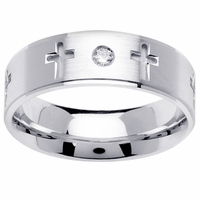 Mens Cross Diamond Wedding Ring (0.06cttw)
