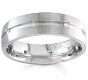 Mens Diamond Band Eternity Style with Center Groove