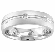 Mens Diamond Ring with Center Groove