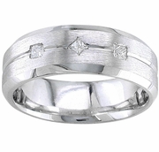 Mens Diamond Wedding Band Beveled Edges