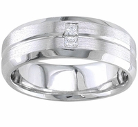 Mens Diamond Wedding Band Beveled Edges and Center Groove