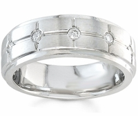 Mens Diamond Wedding Band Crisscross Grooves