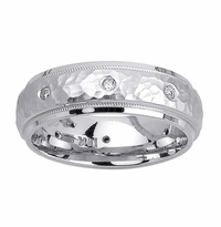 Mens Diamond Wedding Ring Hammered Finish