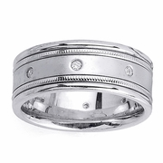 Mens Diamond Wedding Ring in 8.5mm 0.16cttw