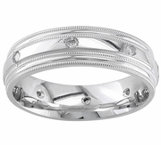 Mens Diamond Wedding Ring Milgrain High Polish