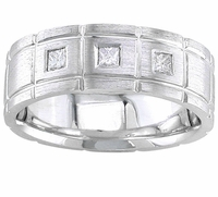 Mens Diamond Wedding Ring with Crisscross Grooves