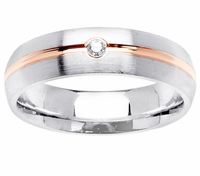 Mens Diamond Wedding Ring with Rose Gold Groove
