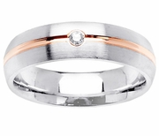 Diamond Wedding Ring with Rose Gold Groove for Women or Men
