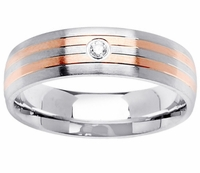 Mens Diamond Wedding Ring with Two Rose Gold Bands