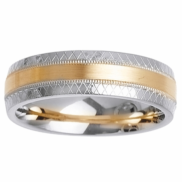 Mens or Womens Two Tone Gold Wedding Ring with Comfort Fit in 6mm - click to enlarge