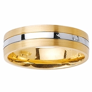 Mens or Womens Two Tone Wedding Ring with Comfort Fit in 6mm