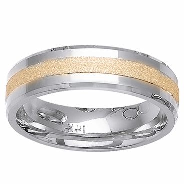 Mens or Womens Wedding Ring Two Tone Comfort Fit in 6mm 14kt Gold - click to enlarge