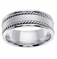 Mens Platinum Ring 8mm Comfort Fit Handmade
