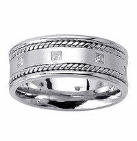 Mens Princess Diamond Wedding Ring in 8.5mm 0.40cttw