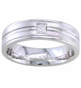 Mens Solitaire Diamond Wedding Band