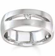 Mens Solitaire Wedding Band Round Diamond