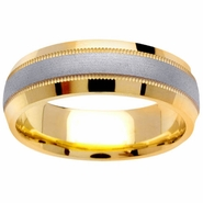 Mens Two Tone Wedding Band with Comfort Fit in 6.5mm 14kt Gold