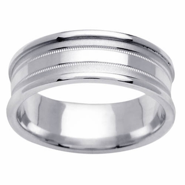 Mens Wedding Ring in 7.5mm 14kt White or Yellow Gold, Sizes 4-16 In Stock - click to enlarge
