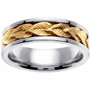 Mens Wedding Ring with Gold Leaf Design - click to enlarge