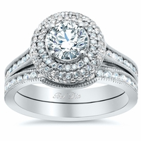 Micro Pave Halo Engagement Ring Bridal Set