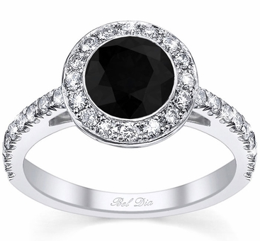 Micro Pave Halo Engagement Ring with Black Diamond - click to enlarge