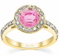 Micro Pave Halo Engagement Ring with Pink Sapphire