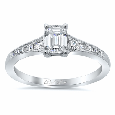 Milgrained Diamond Engagement Ring Setting - click to enlarge