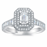 Milgrained Double Halo Engagement Ring with Tapered Band