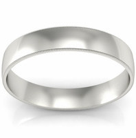 Milgrained Men's Plain Wedding Band (4 mm)