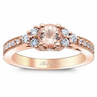 Morganite Diamond Cluster Art Deco Engagement Ring